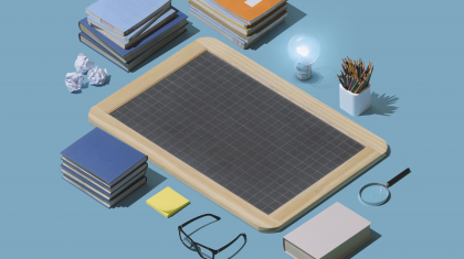 Blank chalkboard, books and isometric educational supplies: back to school and learning concept