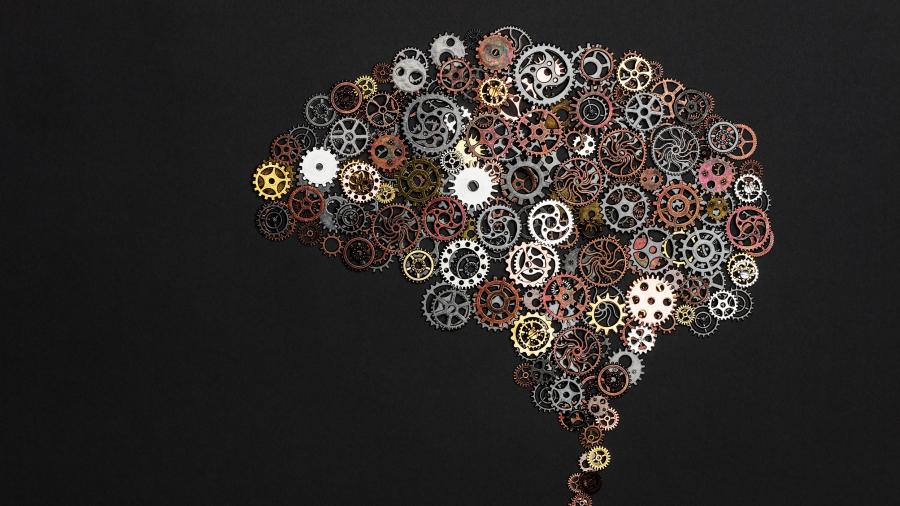 Brain image made out of little cogwheels. Brainwork. Creativity concept.